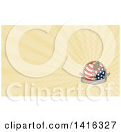 Retro Sketched World War Two Grenade Mounted On A Microphone Stand Over A Blank Banner American Flag And Rope And Rays Background Or Business Card Design