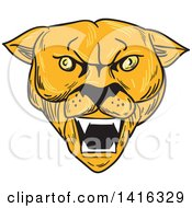 Clipart Of A Sketched Angry Cougar Puma Mountain Lion Head Royalty Free Vector Illustration by patrimonio