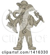 Clipart Of A Sketched Ganesha Handy Man Elephant Holding Tools Royalty Free Vector Illustration by patrimonio