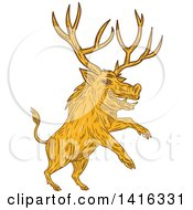 Clipart Of A Sketched Rearing Razorback Boar Pig Beast With Antlers Royalty Free Vector Illustration