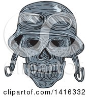Clipart Of A Sketched Biker Skull Wearing A Helmet Royalty Free Vector Illustration by patrimonio