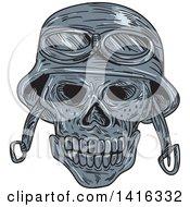 Sketched Biker Skull Wearing A Helmet