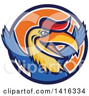 Clipart Of A Retro Cartoon Victorious Hornbill Or Bucerotidae Bird Mascot Cheering In A Blue White And Orange Circle Royalty Free Vector Illustration by patrimonio