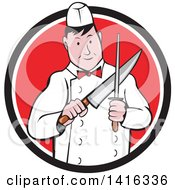 Clipart Of A Retro Cartoon Male Butcher Sharpening A Knife In A Black White And Red Circle Royalty Free Vector Illustration by patrimonio