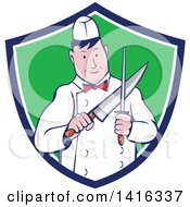 Clipart Of A Retro Cartoon Male Butcher Sharpening A Knife In A Blue White And Green Shield Royalty Free Vector Illustration by patrimonio