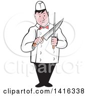 Clipart Of A Retro Cartoon Male Butcher Sharpening A Knife Royalty Free Vector Illustration