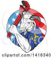 Clipart Of A Retro Sketched Navy Goat Man Holding Pipe Monkey Wrench In An American Circle Royalty Free Vector Illustration
