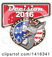 Clipart Of A Retro Politician Democratic Donkey On A Decision 2016 Sign Royalty Free Vector Illustration by patrimonio
