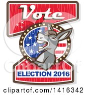 Clipart Of A Retro Politician Democratic Donkey On A Vote Election 2016 Sign Royalty Free Vector Illustration by patrimonio