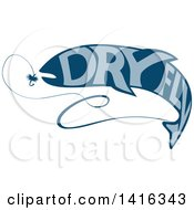 Clipart Of A Blue Silhouetted Trout Fish With Dry Fly Text Catching Bait Royalty Free Vector Illustration