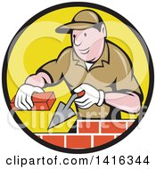 Clipart Of A Retro Cartoon Male Mason Worker Laying Bricks In A Black And Yellow Circle Royalty Free Vector Illustration