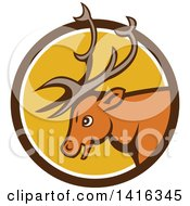 Clipart Of A Retro Cartoon Stag Buck Deer Head In A Brown White And Yellow Circle Royalty Free Vector Illustration