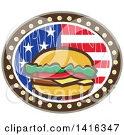 Clipart Of A Retro Cartoon American Cheeseburger In A Wood Textured American Flag Oval Royalty Free Vector Illustration