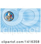 Clipart Of A Cartoon Bald Eagle Plumber Man Holding A Monkey Wrench And Blue Rays Background Or Business Card Design Royalty Free Illustration