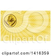 Greek Goddess Demeter Holding Grains And Yellow Rays Background Or Business Card Design