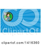 Clipart Of A Retro Cartoon Male Farmer Holding A Shovel Over His Shoulder And Blue Rays Background Or Business Card Design Royalty Free Illustration
