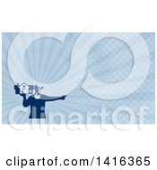 Clipart Of A Retro Male House Remover Or Mover Holding A Home And Pointing And Blue Rays Background Or Business Card Design Royalty Free Illustration