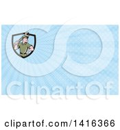 Clipart Of A Retro Cartoon White Handy Man Or Mechanic Holding A Wrench And Blue Rays Background Or Business Card Design Royalty Free Illustration