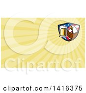Retro Bald Eagle Toasting With Beer In An American Flag Shield And Yellow Rays Background Or Business Card Design