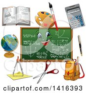 Chalkboard And School Supplies