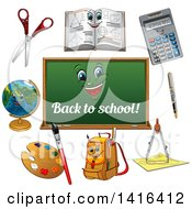 Back To School Chalkboard And Supplies