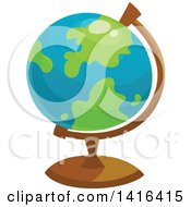 Clipart Of A Desk Globe Royalty Free Vector Illustration