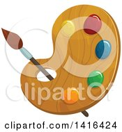 Clipart Of A Paintbrush And Palette Royalty Free Vector Illustration by Vector Tradition SM