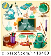 Clipart Of A Back To School Chalkboard And Supplies Royalty Free Vector Illustration by Vector Tradition SM