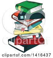 Clipart Of A Sketched Stack Of Books Royalty Free Vector Illustration by Vector Tradition SM