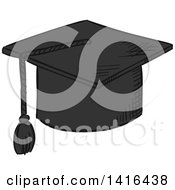 Clipart Of A Sketched Graduation Cap Royalty Free Vector Illustration by Vector Tradition SM