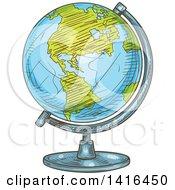 Poster, Art Print Of Sketched Desk Globe