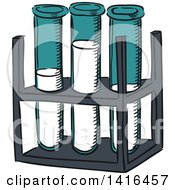 Clipart Of Sketched Test Tubes Royalty Free Vector Illustration