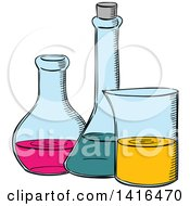 Clipart Of A Sketched Science Flask Royalty Free Vector Illustration
