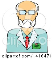 Clipart Of A Sketched Caucasian Male Scientist Avatar Royalty Free Vector Illustration by Vector Tradition SM