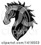 Clipart Of A Tough Gray Horse Head Royalty Free Vector Illustration