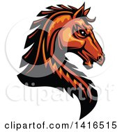 Clipart Of A Tough Orange Or Brown Horse Head Royalty Free Vector Illustration by Vector Tradition SM