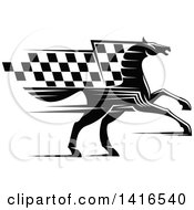 Clipart Of A Black And White Horse With A Checkered Racing Flag Mane Royalty Free Vector Illustration