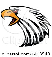Clipart Of A Firece Bald Eagle Head With Red Eyes Royalty Free Vector Illustration by Seamartini Graphics
