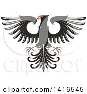 Clipart Of A Black White And Orange Heraldic Eagle Royalty Free Vector Illustration