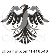 Black White And Orange Heraldic Eagle
