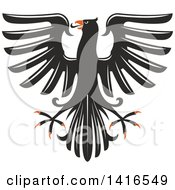 Clipart Of A Black White And Orange Heraldic Eagle Royalty Free Vector Illustration by Vector Tradition SM