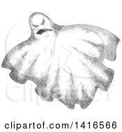 Clipart Of A Sketched Ghost Royalty Free Vector Illustration