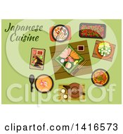 Clipart Of A Table With Japanese Cuisine And Text Royalty Free Vector Illustration