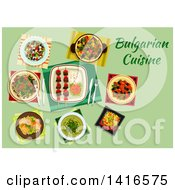 Clipart Of A Table With Bulgarian Cuisine And Text Royalty Free Vector Illustration by Vector Tradition SM
