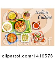 Table With Italian Cuisine And Text