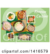 Clipart Of A Table With Korean Cuisine And Text Royalty Free Vector Illustration