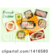Clipart Of A Table With French Cuisine And Text Royalty Free Vector Illustration