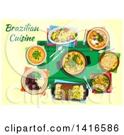 Clipart Of A Table With Brazilian Cuisine And Text Royalty Free Vector Illustration