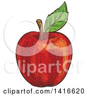 Clipart Of A Sketched Red Apple Royalty Free Vector Illustration by Vector Tradition SM