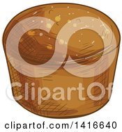 Clipart Of A Sketched Muffin Or Rye Bread Royalty Free Vector Illustration